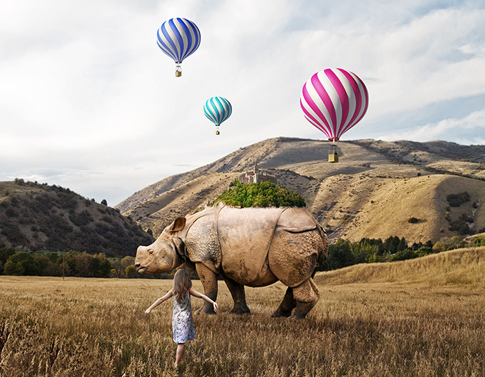 Stefano Bonazzi - bambina con rinoceronte e mongolfiere