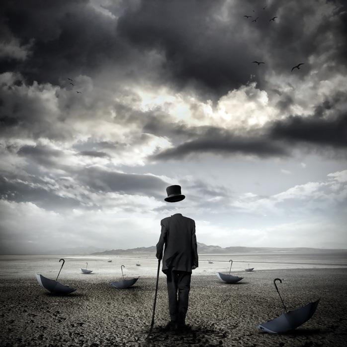 Stefano Bonazzi - uomo senza testa con ombrello
